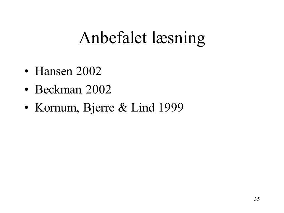 Anbefalet læsning Hansen 2002 Beckman 2002 Kornum, Bjerre & Lind 1999