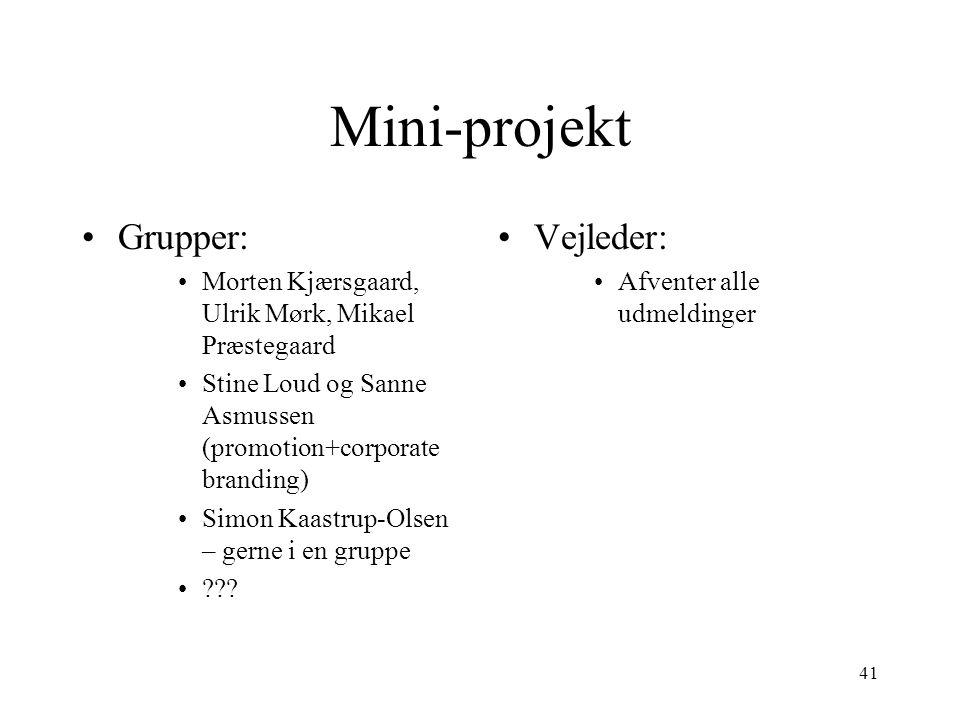 Mini-projekt Grupper: Vejleder: