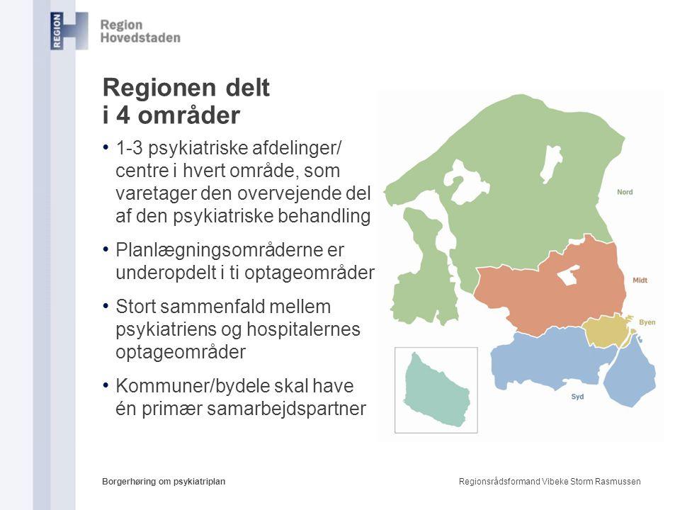 Regionen delt i 4 områder