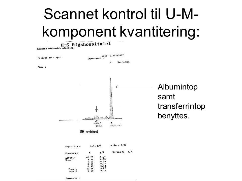 Scannet kontrol til U-M-komponent kvantitering: