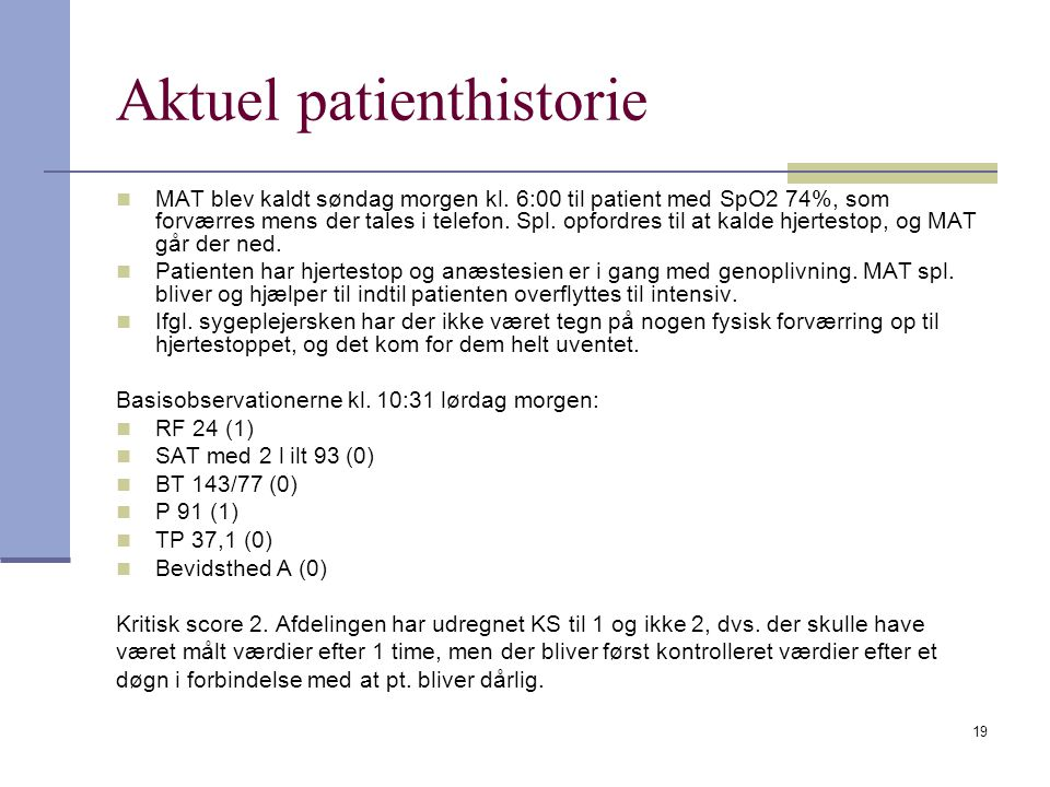 Aktuel patienthistorie