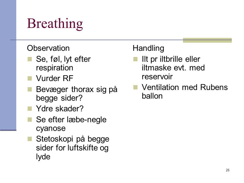 Breathing Observation Se, føl, lyt efter respiration Vurder RF