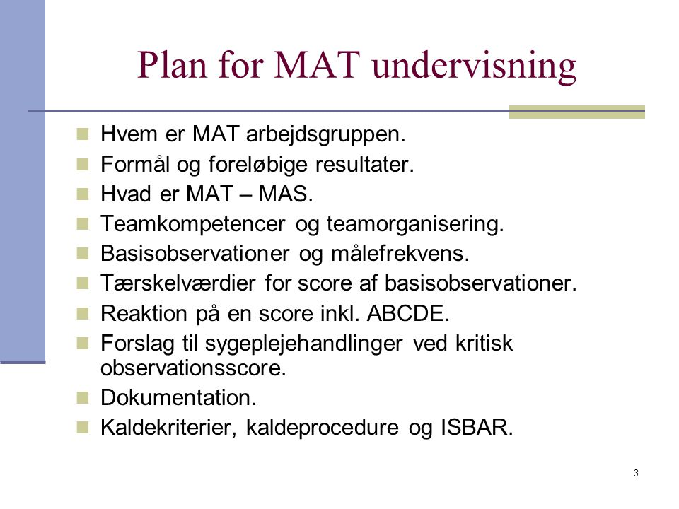 Plan for MAT undervisning
