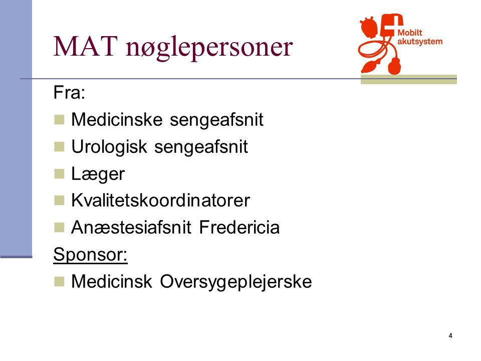 MAT nøglepersoner Fra: Medicinske sengeafsnit Urologisk sengeafsnit