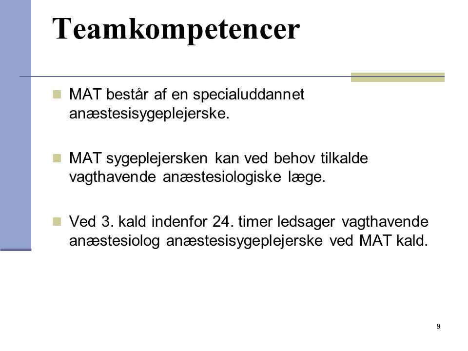 Teamkompetencer MAT består af en specialuddannet anæstesisygeplejerske. MAT sygeplejersken kan ved behov tilkalde vagthavende anæstesiologiske læge.