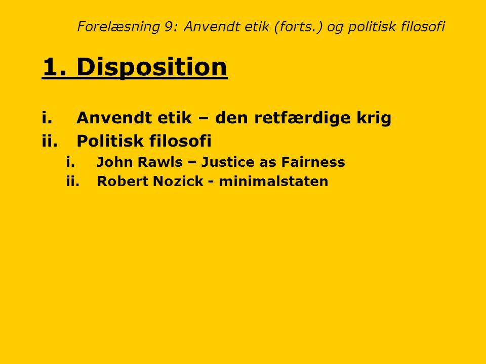 Forelæsning 9: Anvendt etik (forts.) og politisk filosofi