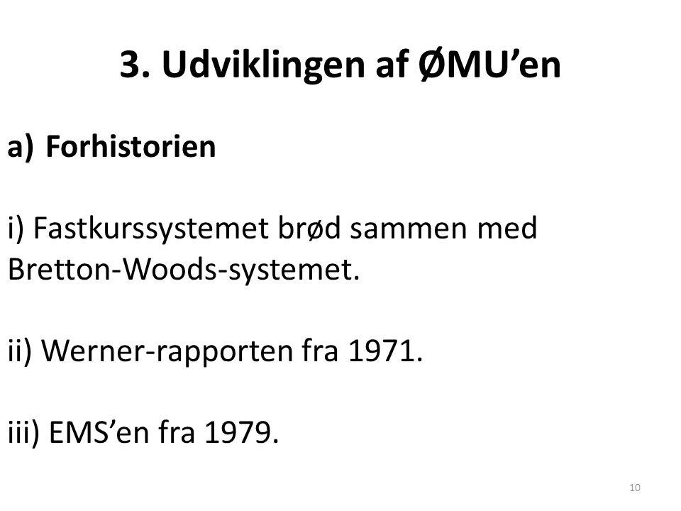3. Udviklingen af ØMU'en Forhistorien