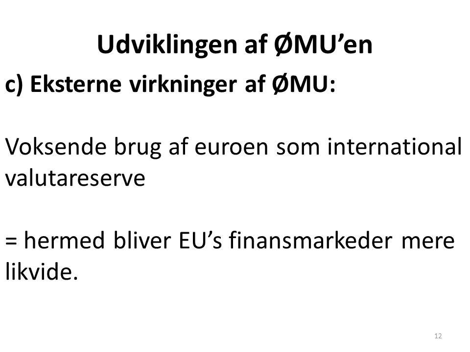 Udviklingen af ØMU'en c) Eksterne virkninger af ØMU: