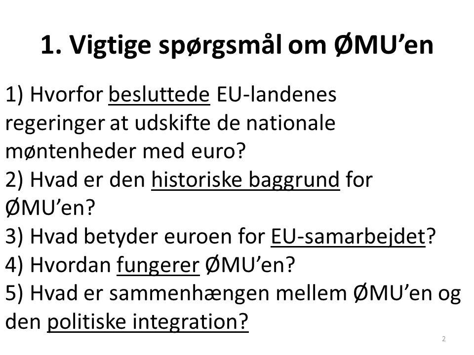 1. Vigtige spørgsmål om ØMU'en