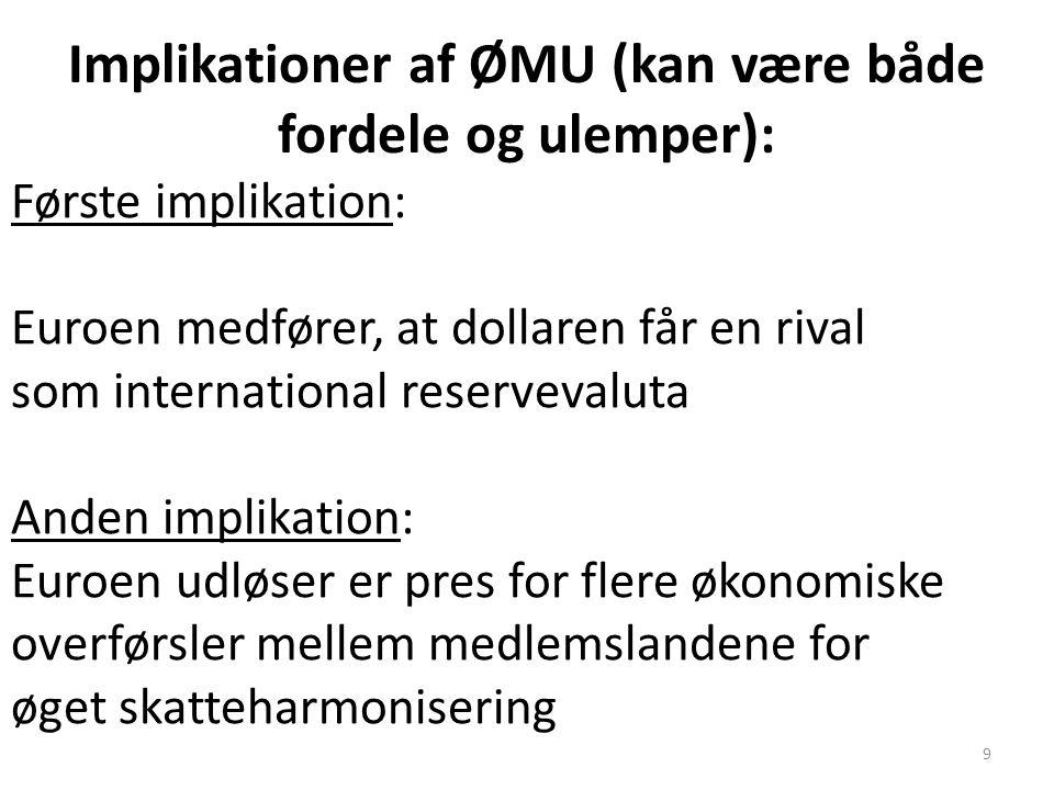 Implikationer af ØMU (kan være både fordele og ulemper):