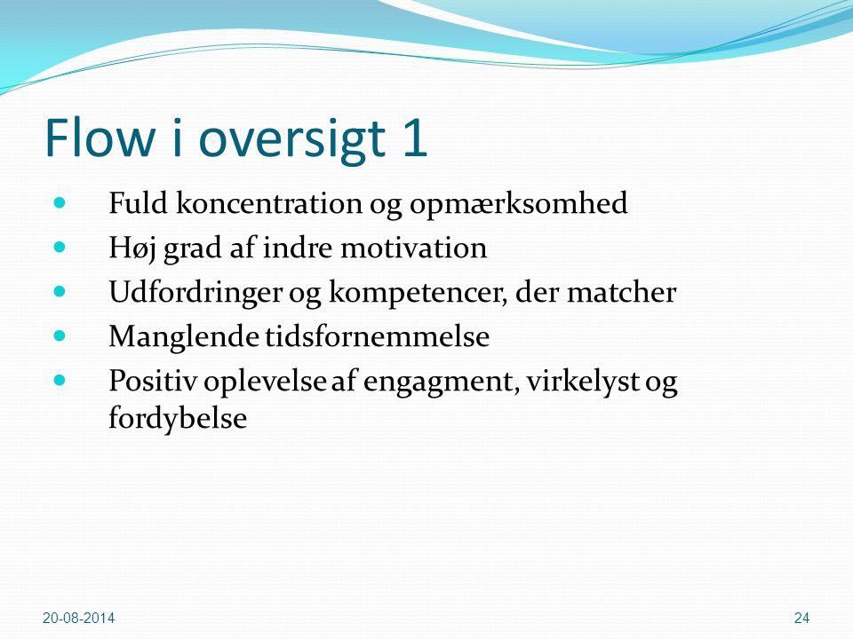 Flow i oversigt 1 Fuld koncentration og opmærksomhed