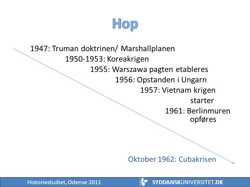 Hop 1947: Truman doktrinen/ Marshallplanen 1950-1953: Koreakrigen