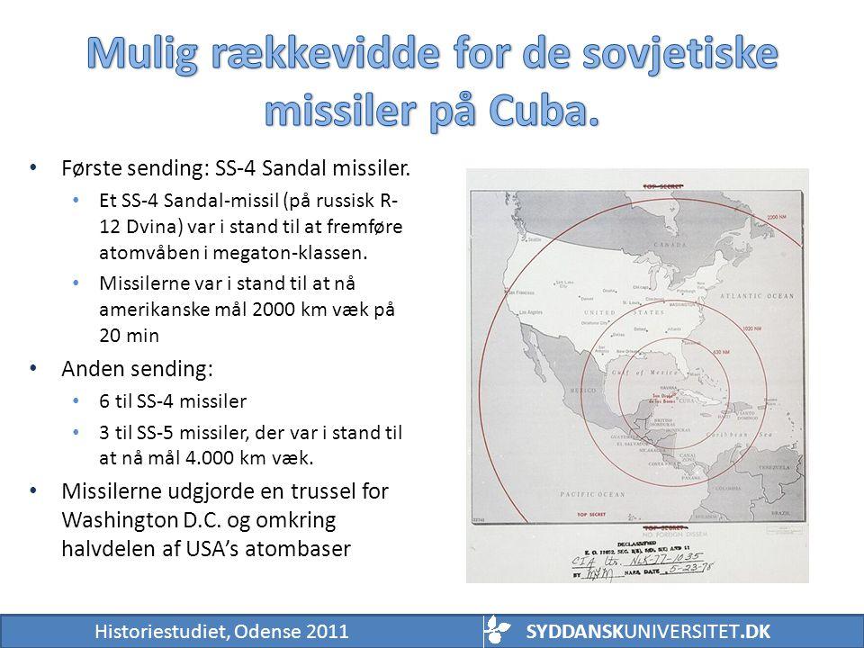 Mulig rækkevidde for de sovjetiske missiler på Cuba.