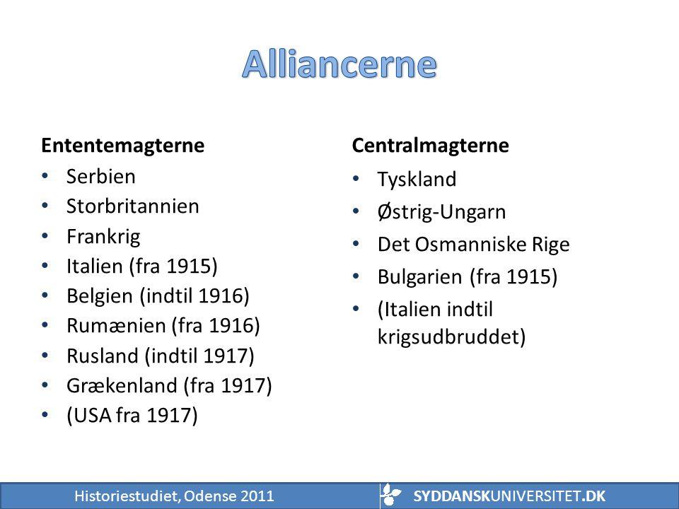 Alliancerne Ententemagterne Centralmagterne Serbien Storbritannien