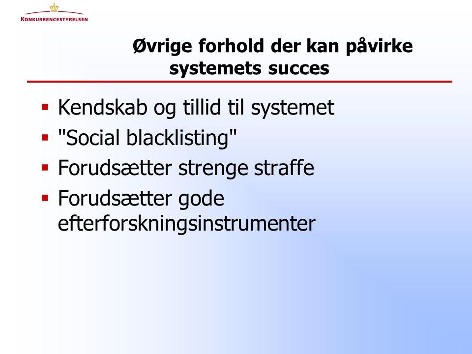 Øvrige forhold der kan påvirke systemets succes