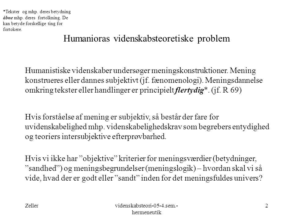 Humanioras videnskabsteoretiske problem