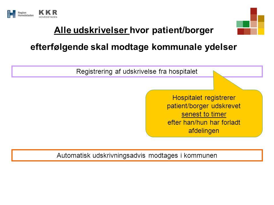 Alle udskrivelser hvor patient/borger