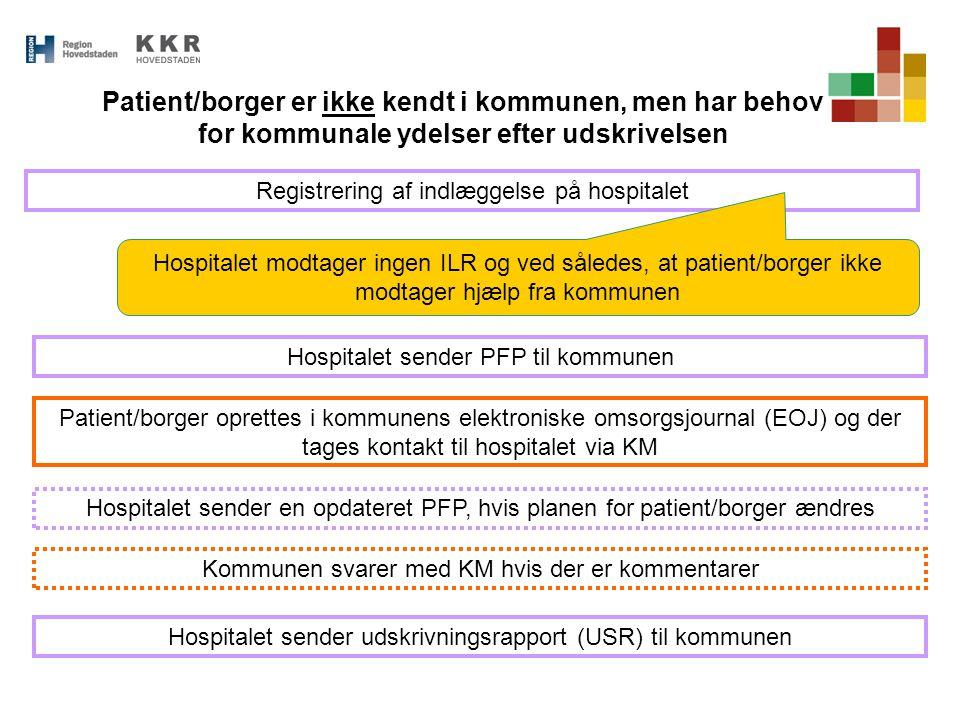 Patient/borger er ikke kendt i kommunen, men har behov for kommunale ydelser efter udskrivelsen