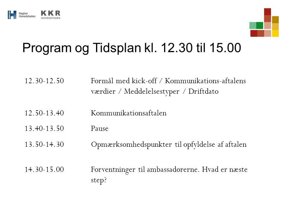 Program og Tidsplan kl. 12.30 til 15.00