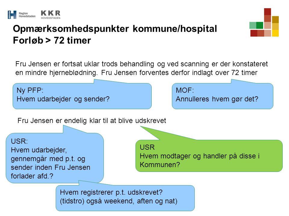 Opmærksomhedspunkter kommune/hospital Forløb > 72 timer