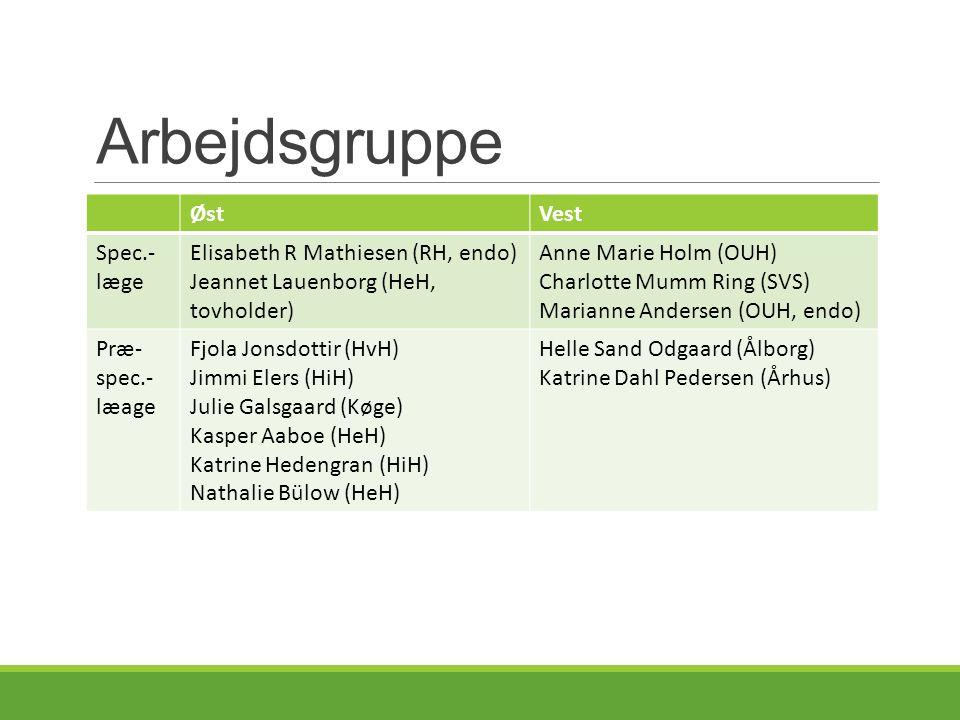 Arbejdsgruppe Øst Vest Spec.-læge Elisabeth R Mathiesen (RH, endo)
