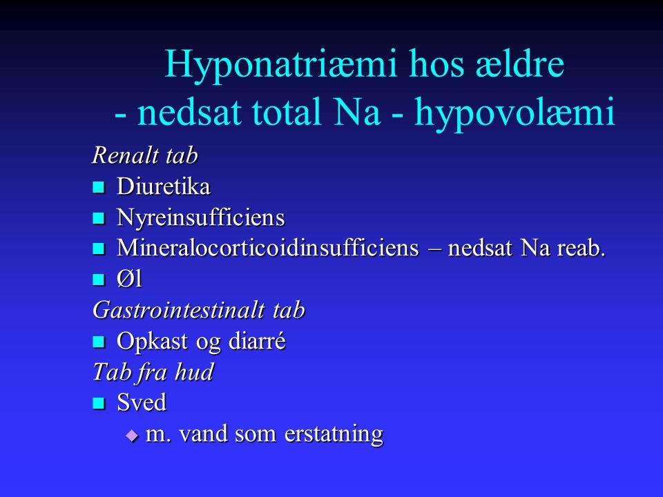 Hyponatriæmi hos ældre - nedsat total Na - hypovolæmi