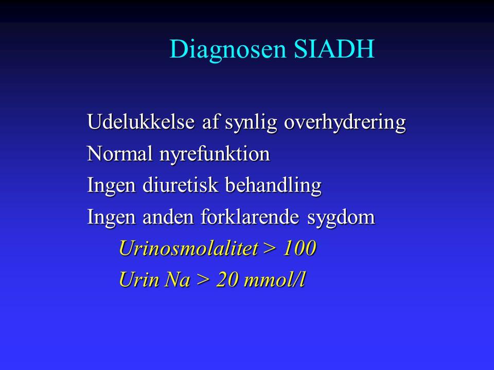 Diagnosen SIADH Udelukkelse af synlig overhydrering