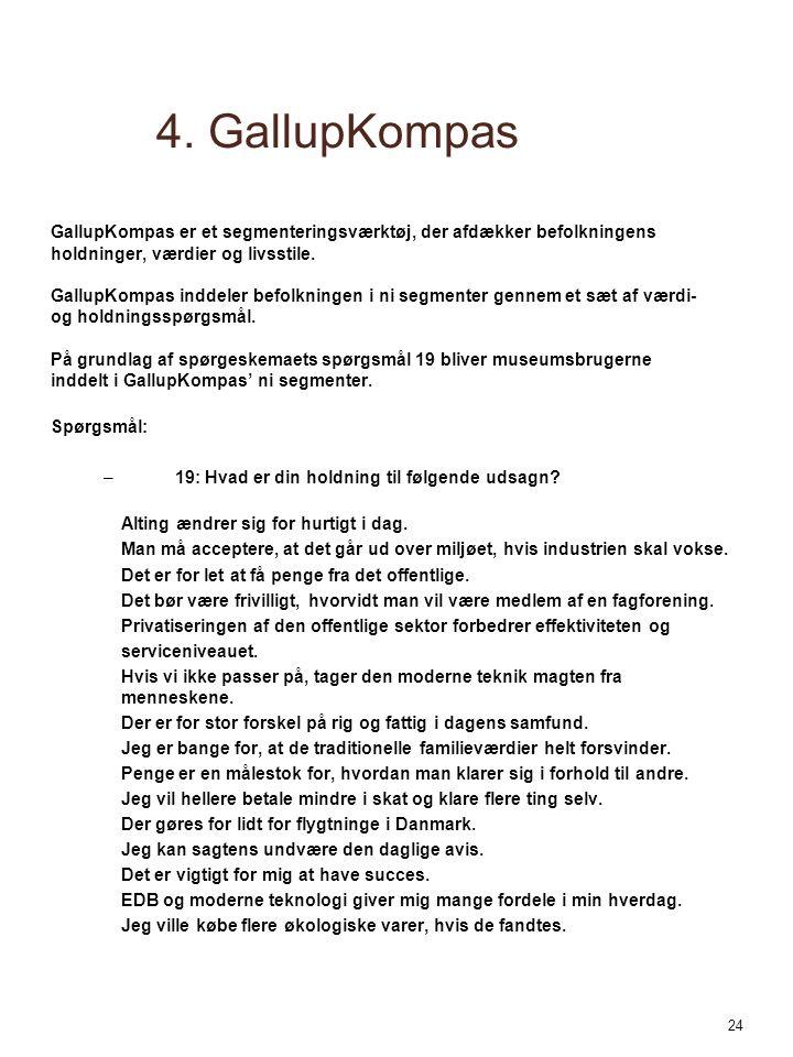 4. GallupKompas GallupKompas er et segmenteringsværktøj, der afdækker befolkningens. holdninger, værdier og livsstile.