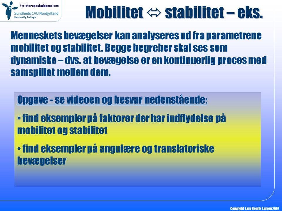 Mobilitet  stabilitet – eks.