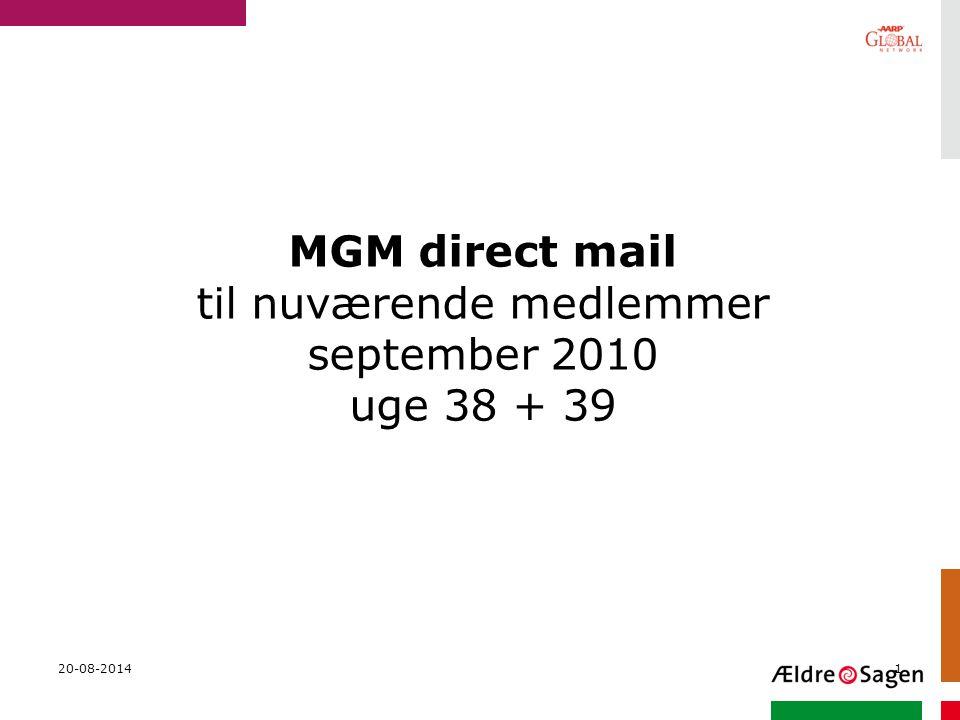 MGM direct mail til nuværende medlemmer september 2010 uge 38 + 39