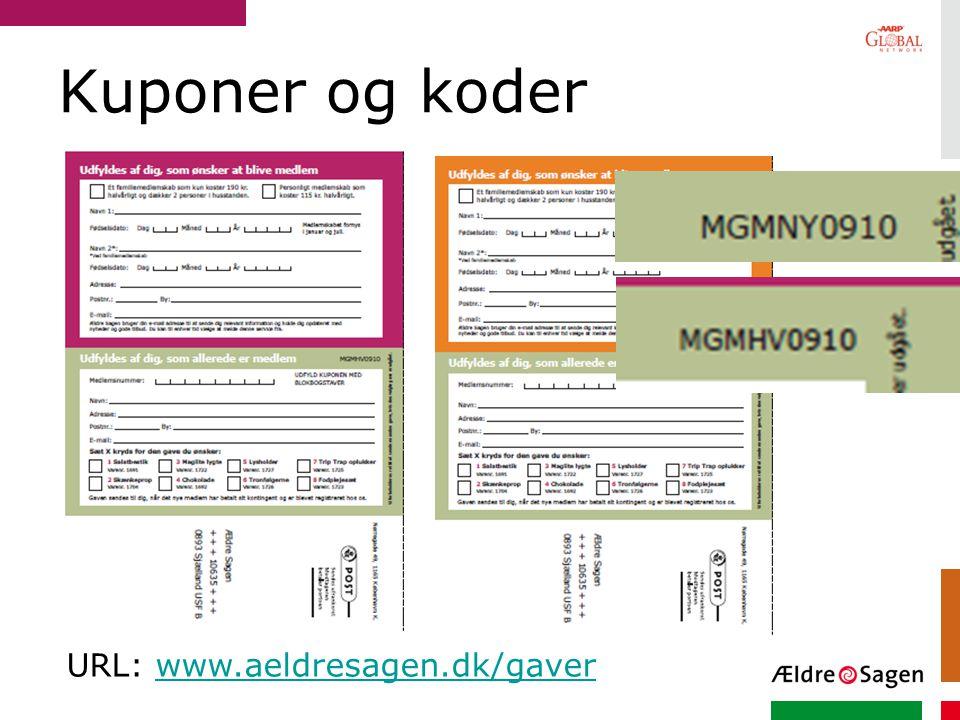 Kuponer og koder URL: www.aeldresagen.dk/gaver