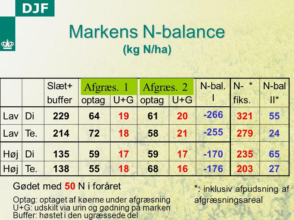 Markens N-balance (kg N/ha)