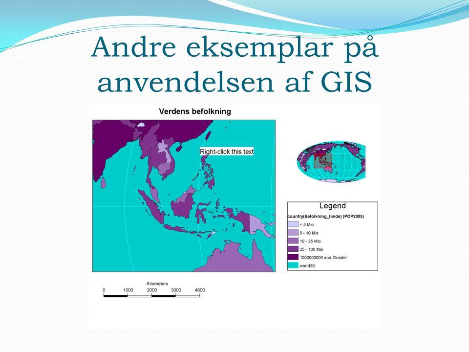 Andre eksemplar på anvendelsen af GIS