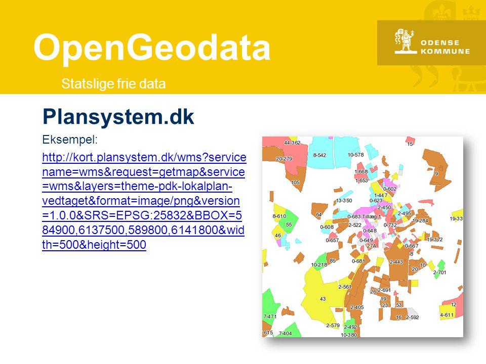 OpenGeodata Plansystem.dk Statslige frie data Eksempel: