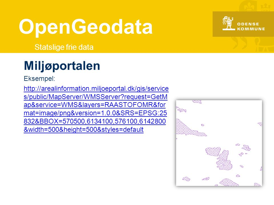 OpenGeodata Miljøportalen Statslige frie data Eksempel: