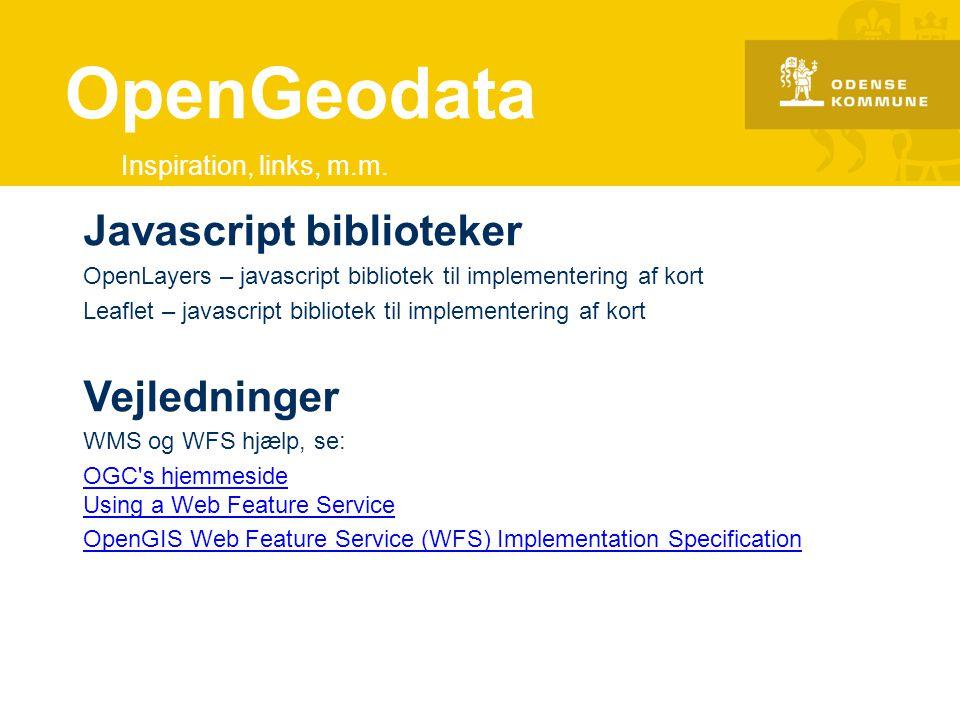 OpenGeodata Javascript biblioteker Vejledninger