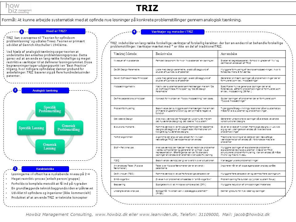 TRIZ Formål: At kunne arbejde systematisk med at opfinde nye løsninger på konkrete problemstillinger gennem analogisk tænkning.