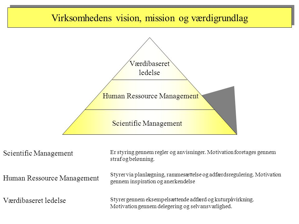Virksomhedens vision, mission og værdigrundlag