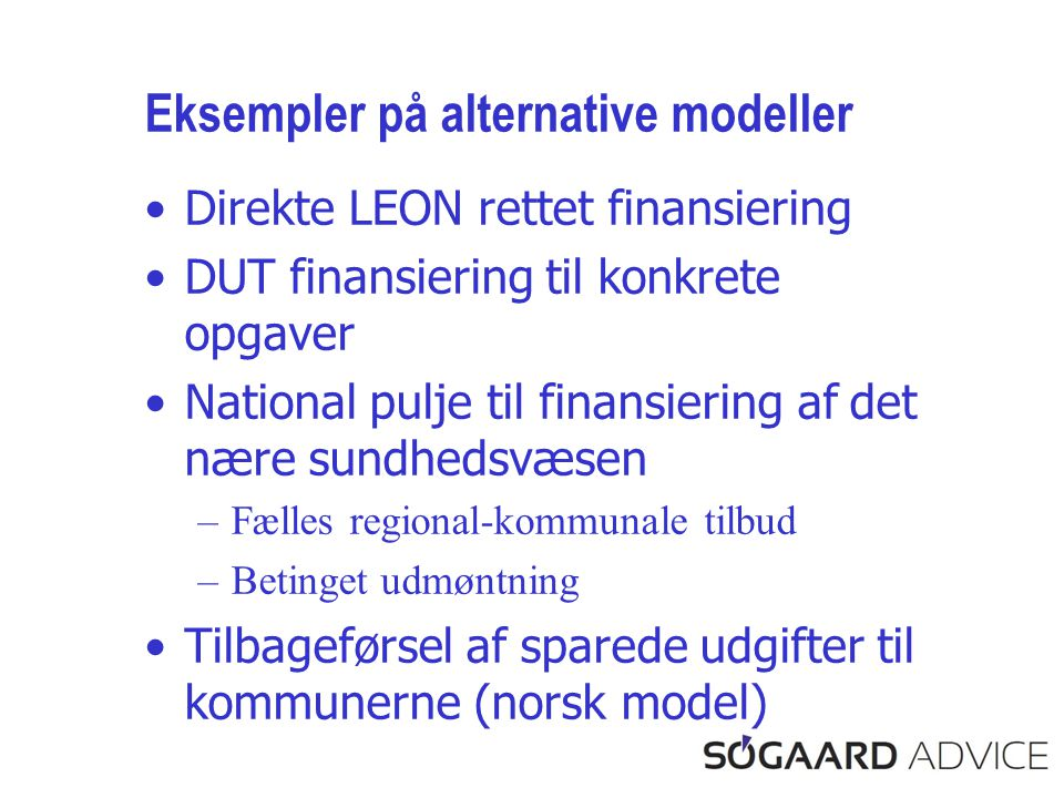 Eksempler på alternative modeller