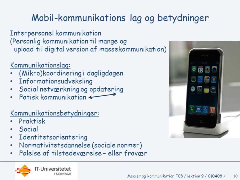 Mobil-kommunikations lag og betydninger