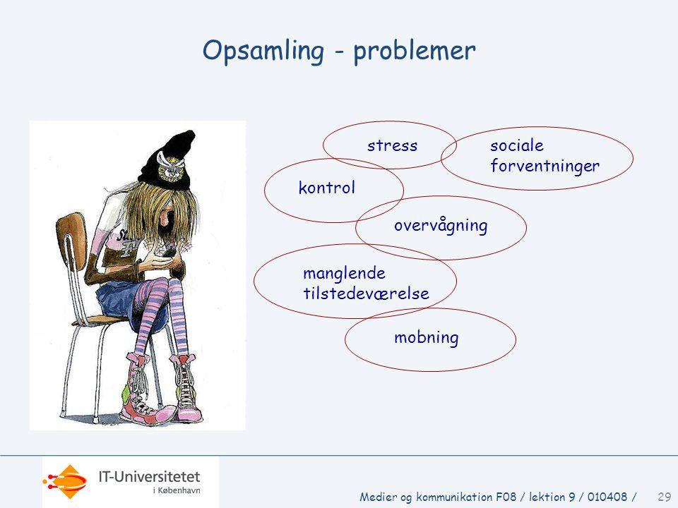 Opsamling - problemer stress sociale forventninger kontrol overvågning