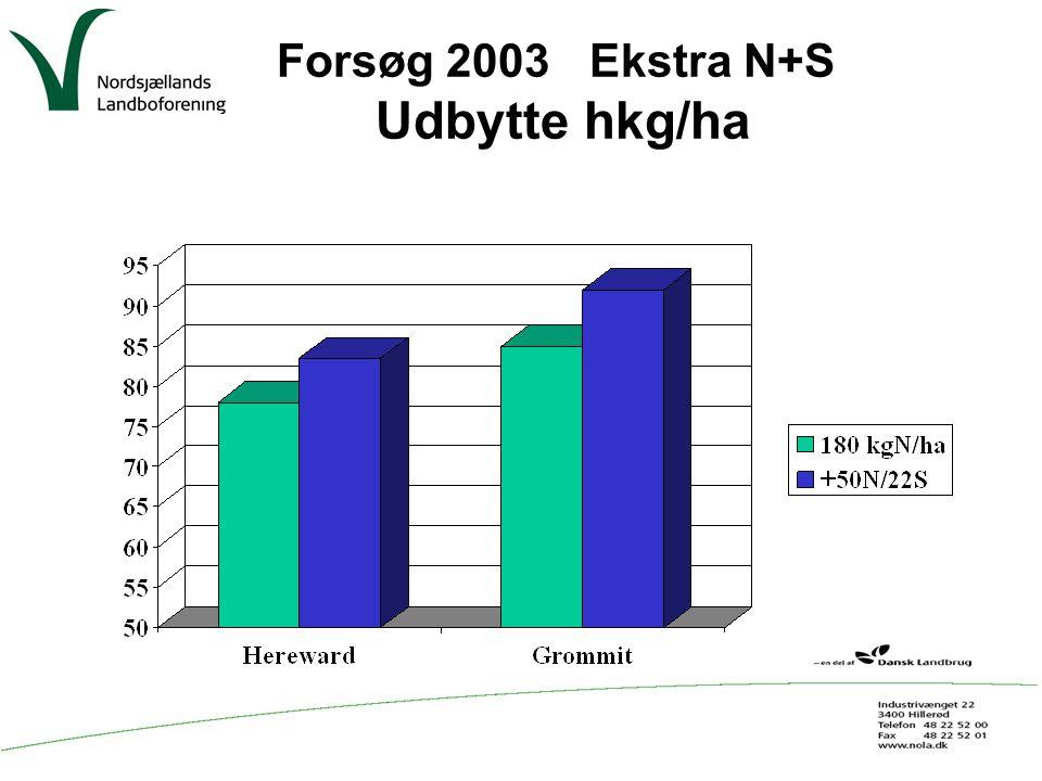 Forsøg 2003 Ekstra N+S Udbytte hkg/ha