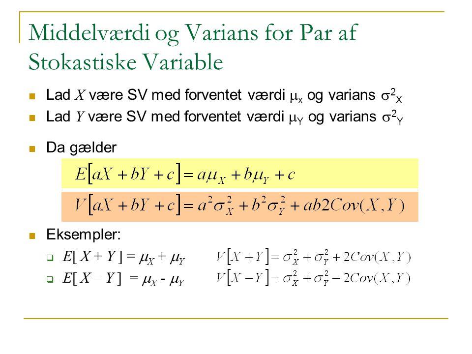 Middelværdi og Varians for Par af Stokastiske Variable
