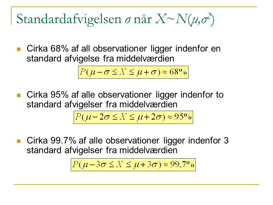 Standardafvigelsen σ når X~N(μ,σ2)