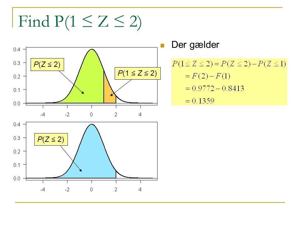 Find P(1 ≤ Z ≤ 2) Der gælder P(Z ≤ 2) P(1 ≤ Z ≤ 2) P(Z ≤ 2)