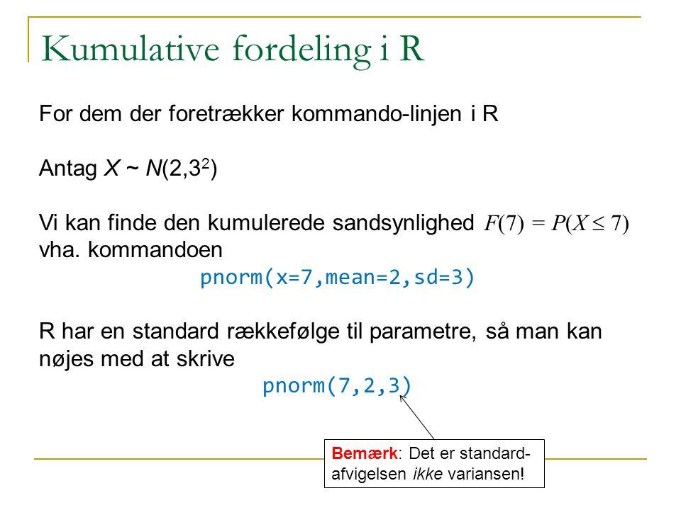 Kumulative fordeling i R
