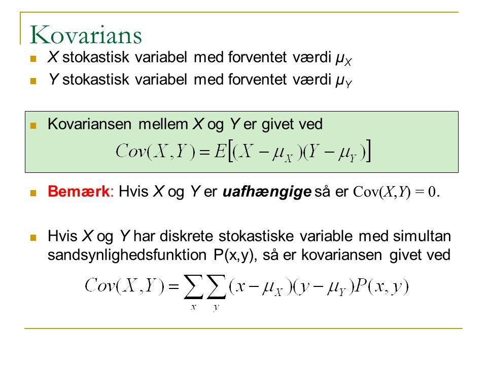 Kovarians X stokastisk variabel med forventet værdi μX