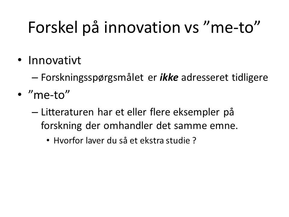 Forskel på innovation vs me-to