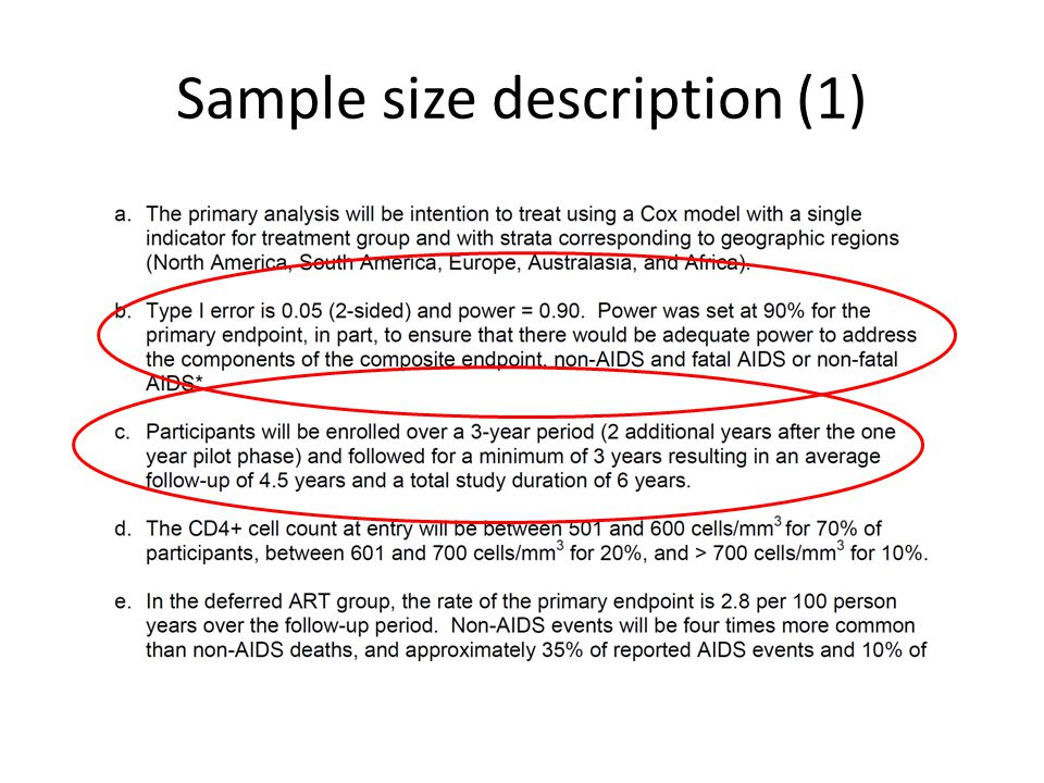 Sample size description (1)