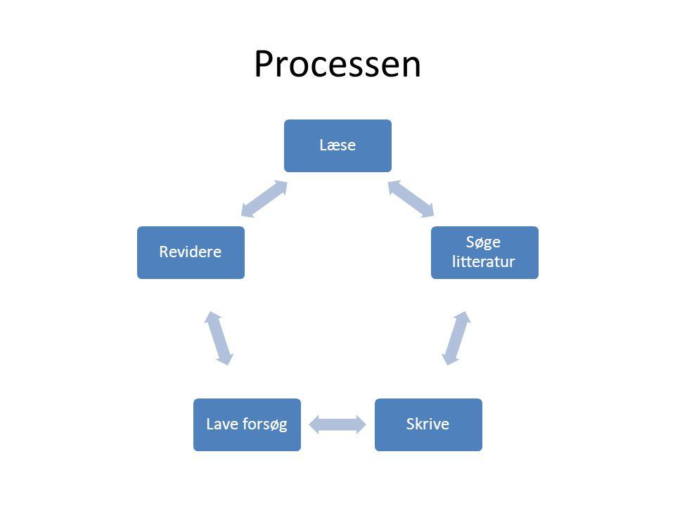 Processen Læse Søge litteratur Skrive Lave forsøg Revidere